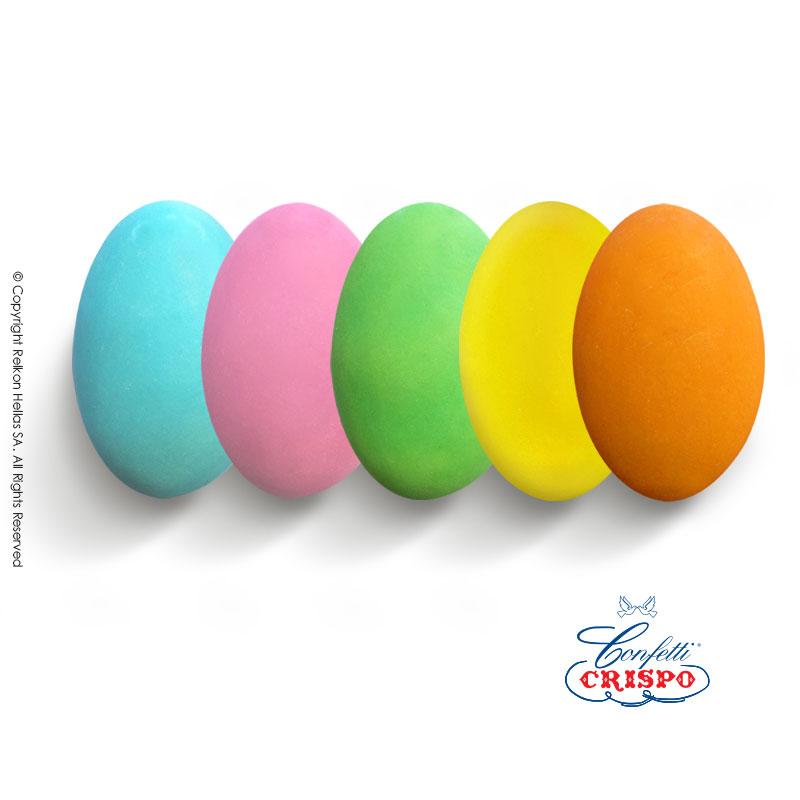 Κουφέτο CiocoPassion Πολύχρωμο, γαλάζιο, ροζ, λευκό, πράσινο, κίτρινο, πορτοκαλί.  Διπλή σοκολάτα (πυρήνας λευκής με επικάλυψη γάλακτος)  και λεπτή επίστρωση ζάχαρης.  Τεμ./kg:190 - 210  Τύπος:Ματ  Συσκευασία:1kg  Συντήρηση