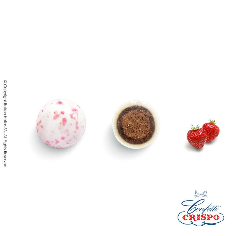Κοφέτα Krixi Crispys Splash Pink, σε ροζ-λευκό και σιέλ-λευκό  Δημητριακά με κακάο, επικάλυψη λευκής σοκολάτας μελεπτή επίστρωση ζάχαρης και γεύση φράουλα.  Τεμ./kg:210 - 230  Τύπος:Γυαλιστερό  Συσκευασία:900g  Συντήρηση