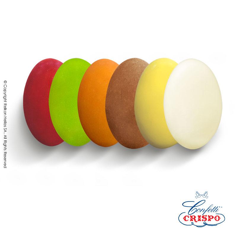Κουφέτο CiocoPassion Πολύχρωμο με Γεύσεις, λεμόνι, Αμαρένο, Φυστίκι, Πορτοκάλι, Cappuccino, Ricotta Pera.  Διπλή σοκολάτα (πυρήνας λευκής με επικάλυψη γάλακτος)  με γεύσεις και λεπτή επίστρωση ζάχαρης.  Τεμ./kg:190 - 210  Τύπος:Ματ  Συσκευασία:1kg  Συντήρηση