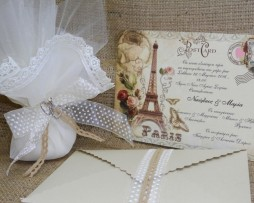 Προσκλητήριο Γάμου Card Postal Vintage