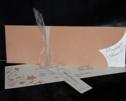 Προσκλητήριο Γάμου Σομόν Φάκελος Δερματίνης