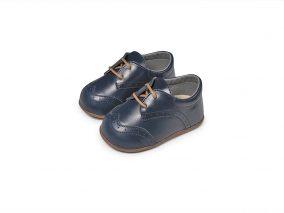 Babywalker Παπουτσάκια Μπλε Δερμάτινο με Σχέδιο